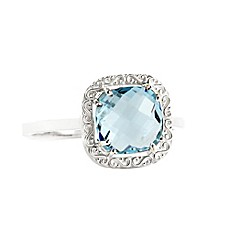 image of Suzanne Kalan Sterling Silver 8mm Cushion-Cut Blue Topaz Filigree Bezel Ladies' Ring