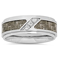 image of Stainless Steel .10 cttw Diamond Grey Carbon Fiber Inlay Men's Wedding Band