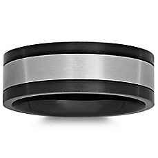image of Black and White Stainless Steel Men's Wedding Band