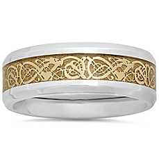 image of Stainless Steel Yellow Ion-Plated Celtic Inlay Men's Wedding Band