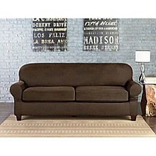 Sure Fit® Vintage Faux Leather Individual Cushion 2 Seat Sofa Slipcover