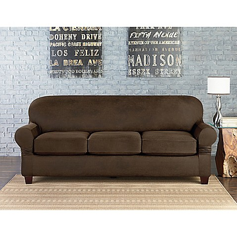 Sure Fit Vintage Faux Leather Individual Cushion 3 Seat Sofa Slipcover Bed Bath Beyond