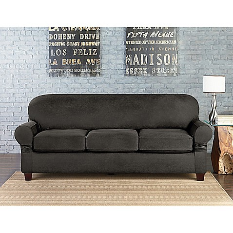 buy sure fit vintage faux leather individual cushion 3