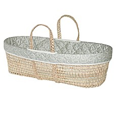 image of Jolly Jumper® Swirl Quilted Moses Basket in Grey/White