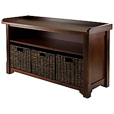 image of Winsome Trading Granville Storage Bench with 3 Small Baskets in Antique Walnut/Chocolate