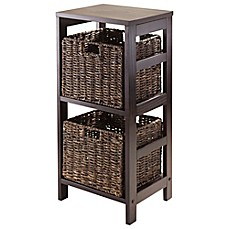 Image Of Winsome Trading Granville 2 Tier Storage Shelf With 2 Small  Baskets In Espresso