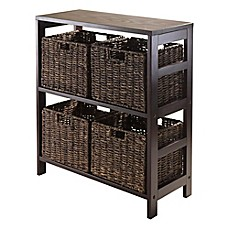winsome trading granville 2 tier wide storage shelf with 4 large baskets in espresso - Baskets For Bookshelves