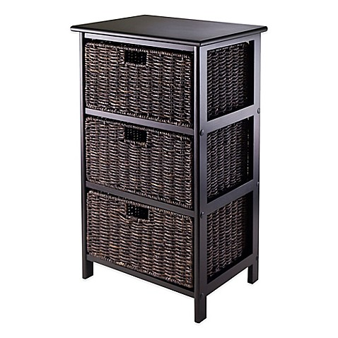 Elegant Winsome Trading Omaha 3 Tier Storage Shelf With 3 Baskets In Black/Chocolate