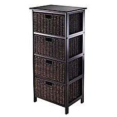 Winsome Trading Omaha 4-Tier Storage Shelf with 4 Baskets in Black/Chocolate  sc 1 st  Bed Bath u0026 Beyond & Shelving u0026 Storage Units - Fabric Basket Craft Storage Rack u0026 more ...