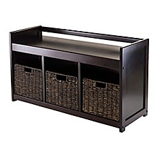 image of Winsome Trading Addison Storage Bench with 3 Baskets