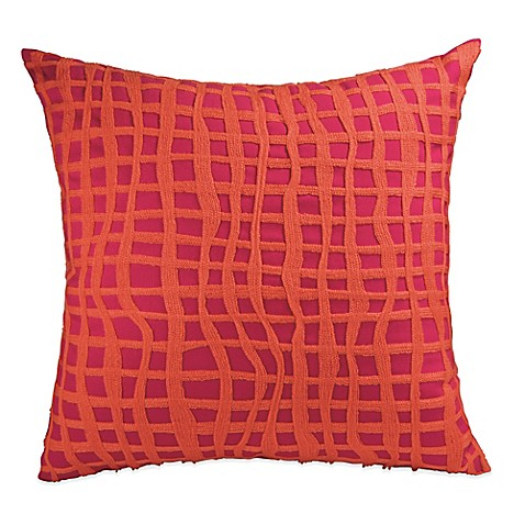 DKNY Colorblock Square Throw Pillow in Raspberry - Bed Bath & Beyond