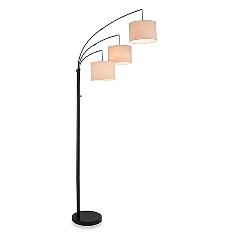 buy adesso 3 arc floor lamp in satin steel with burlap. Black Bedroom Furniture Sets. Home Design Ideas