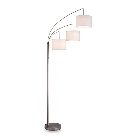 buy adesso 3 arc floor lamp in satin steel with burlap shades from. Black Bedroom Furniture Sets. Home Design Ideas