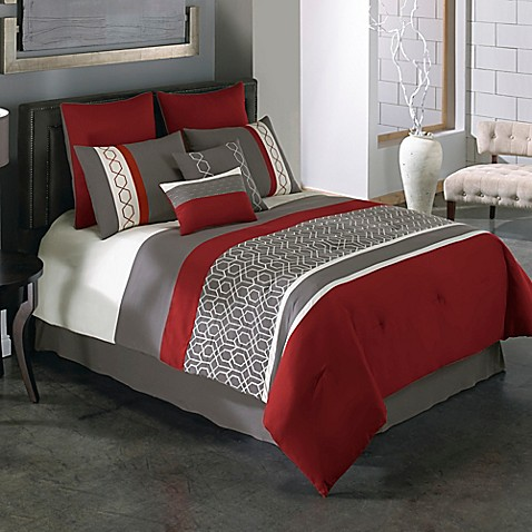 covington 8 piece comforter set in red grey bed bath beyond