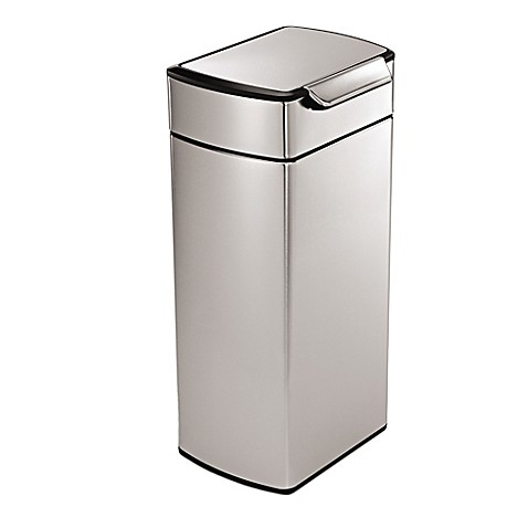 simplehuman brushed stainless steel fingerprint proof rectangular 30 liter touch bar trash can. Black Bedroom Furniture Sets. Home Design Ideas
