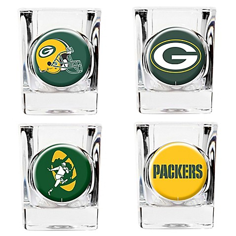 nfl green bay packers collector's shot glasses (set of 4) - bed