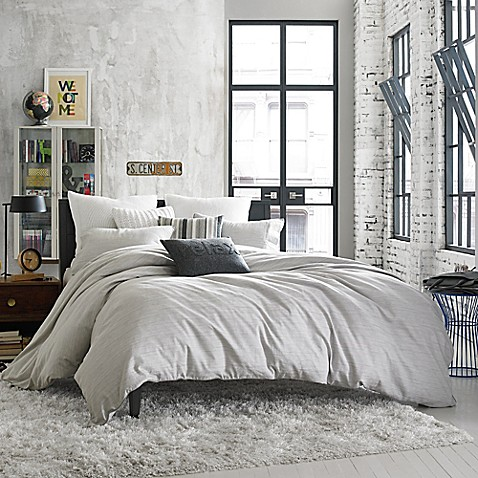 Kenneth Cole Reaction Home Elements Reversible Duvet Cover in Grey Mist. Kenneth Cole Reaction Home Elements Reversible Duvet Cover in Grey