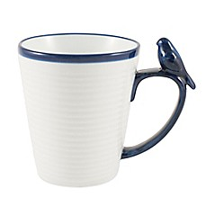image of Everyday White® by Fitz and Floyd® Blue Rim Bird Mug