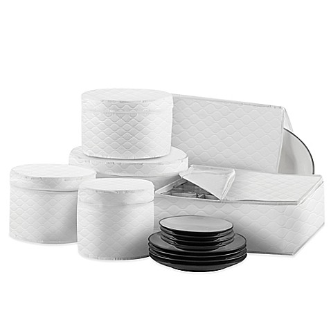 SALT Quilted 6 Piece Dinnerware And Serveware China Storage Protector Set  In White