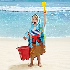image of Kids' Pirate Velour Hooded Towel in Blue/Red