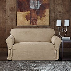 image of sure fit designer sueded twill loveseat slipcover
