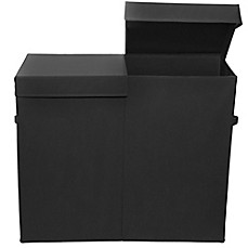 image of Modern Littles Folding Double Laundry Basket in Black