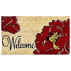 image of welcome poppy coir door mat insert