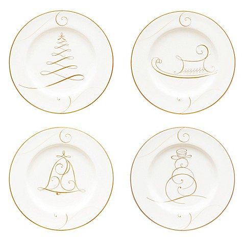 Noritake® Golden Wave Snowman/Bell/Tree/Sleigh Holiday Appetizer ...