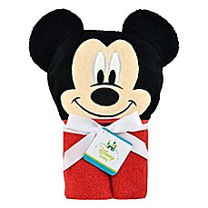 image of disney mickey mouse hooded towel in redblack