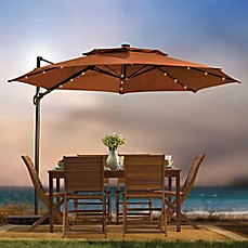 Beautiful Image Of 11 Foot Round Solar Cantilever Umbrella