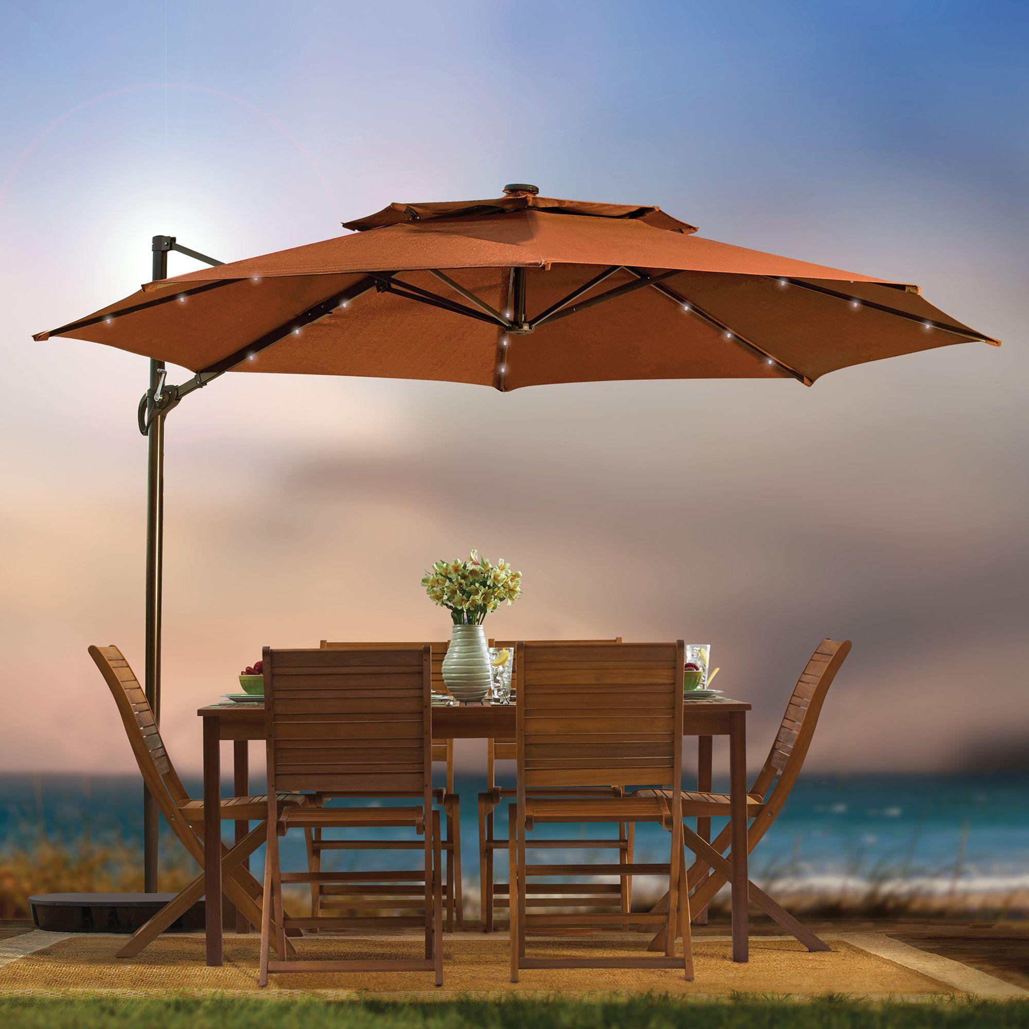 11 Foot Ft Round Umbrella Cantilever Tilting Offset Solar