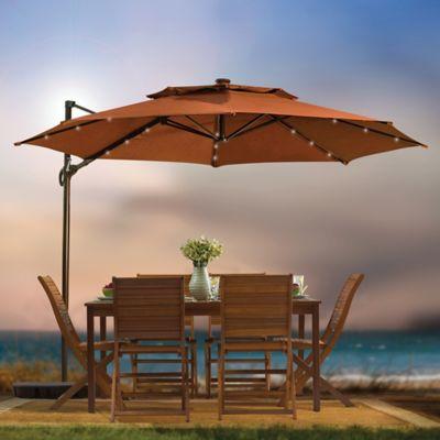 11 Foot Ft Round Umbrella Cantilever Tilting Offset Solar LED Patio Shade  Canopy. ORANGE. PDP Main Image