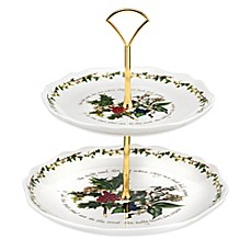 image of Portmeirion® Holly & Ivy 2-Tier Cake Stand