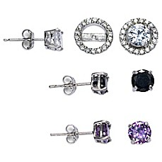 image of Sterling Silver Cubic Zirconia Post Earring Jacket Set in White, Black, and Purple