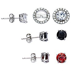 image of Sterling Silver Cubic Zirconia Post Earring Jacket Set in White, Black, and Red