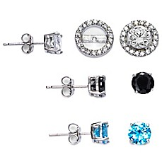 image of Sterling Silver Cubic Zirconia Post Earring Jacket Set in White, Black, and London Blue
