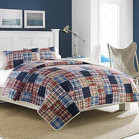Nautica blaine quilt in red bed bath beyond for Blaine storage