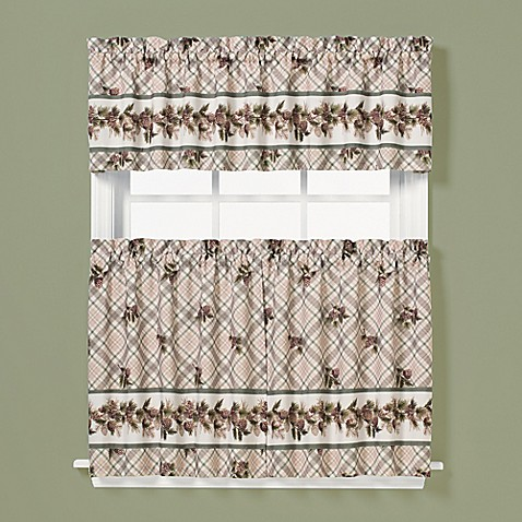 Buy pinecone 36 inch window curtain tier pair in plaid from bed bath beyond for 36 inch bathroom window curtains