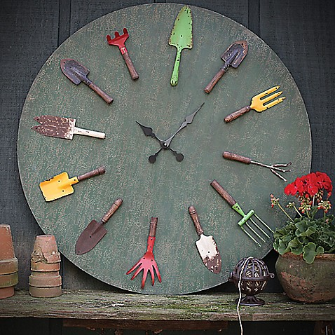 Garden tools wall clock bed bath beyond for Gardening tools required