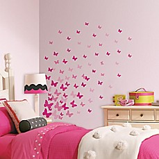 image of RoomMates Pink Flutter Butterflies Wall Decals