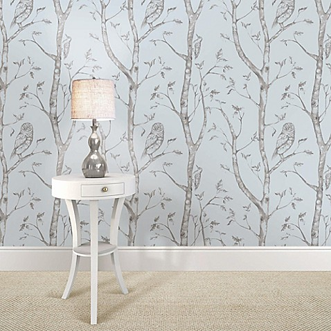 woods peel stick wallpaper in blue bed bath beyond