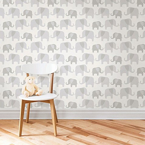 WallPops!® NuWallpaper™ Elephant Parade Peel & Stick Wallpaper in Grey