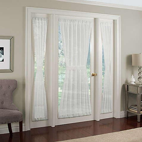 buy crushed voile rod pocket 40 inch side light window curtain panel in white from bed bath beyond. Black Bedroom Furniture Sets. Home Design Ideas