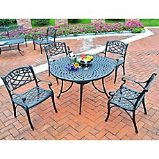 image of Crosley 5-Piece Sedona 42-Inch Outdoor Dining Set in Black