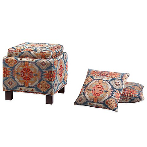 buy madison park square storage ottoman with two accent pillows in red from bed bath beyond. Black Bedroom Furniture Sets. Home Design Ideas