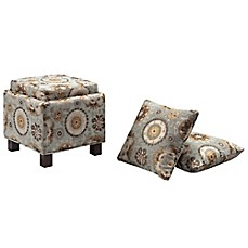 image of Madison Park Square Storage Ottoman with Two Accent Pillows