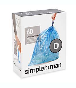 Bolsas reciclables de basura Simplehuman®, código D con capacidad de 20 L en azul, Paquete de 60 pzas.