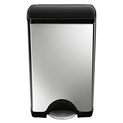 image of simplehuman  Stainless Steel Rectangular 38 Liter Step On Trash Can Cans Bed Bath Beyond