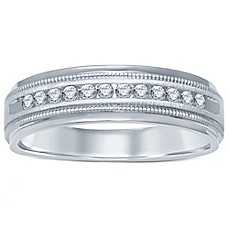 image of 14K White Gold Channel-Set Diamond Men's Milgrain Wedding Band Collection