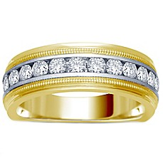 image of 14K Yellow and White Gold Channel-Set Diamond Men's Milgrain Wedding Band Collection